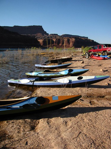 Four of the five kayaks that duckworks brought to Utah.
