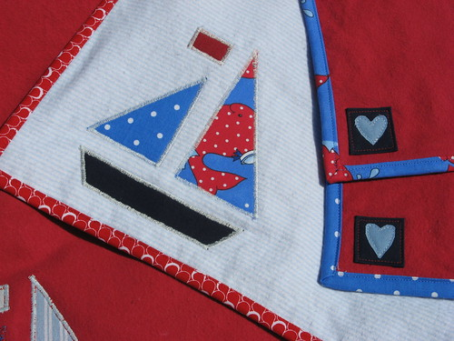 Sailboat blanket and burp cloth set