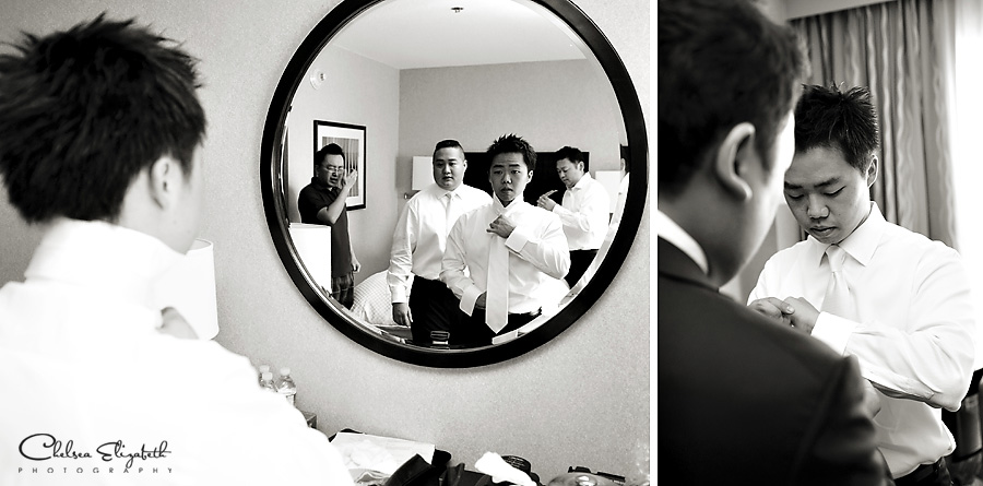 Black and white groom getting ready images hotel room, The Westin, South Coast Plaza picture