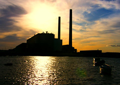 cockenzie power station sunset (Gavin Proc) Tags: blue sunset orange water station boats scotland power towers east lothian cockenzie