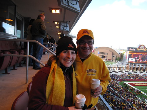 Sipping Caribou Coffee at the Gopher Game
