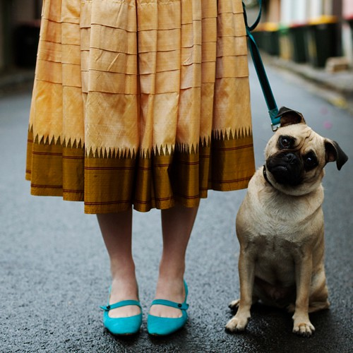 streetstyle - girl with a dog