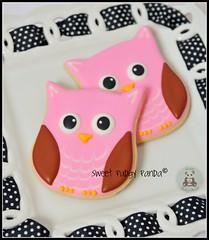 Owl Cookies (Sweet Pudgy Panda) Tags: pink brown cookies sugar owl sweetpudgypanda