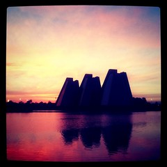 The Great Pyramids Of Indy (Instagram) (Sean Molin Photography) Tags: sunset architecture square indianapolis may squareformat collegepark 2011 thepyramids iphoneography instagramapp xproii uploaded:by=instagram