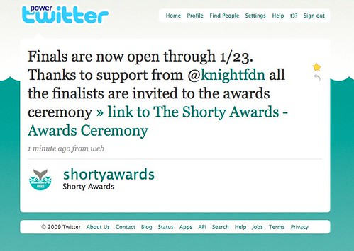 Twitter @shortyawards: Finals are now open through 1/23. Thanks to support from @knightfdn all the finalists are invited to the awards ceremony.