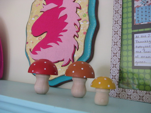 mushrooms on top of my aqua shelf.. these are from craftsty on etsy
