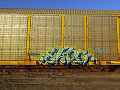 SLOG (TRUE 2 DEATH) Tags: railroad streetart train graffiti tag graf railcar spraypaint boxcar railways railfan freight slog freighttrain autorack autocarrier benching railroadrollingstock