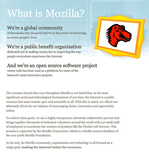 """What is Mozilla?"" page"