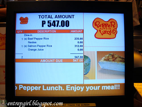 Pepper Lunch bill