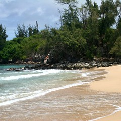 The north end of peaceful D.T. Fleming Beach in Kapalua