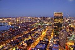 Boston Looking East (Amar Raavi) Tags: moon boston night canon cityscape massachusetts charlesriver newengland gimp loganairport bos bostoncommon hdr backbay beaconhill longfellowbridge amar prudentialcenter beantown zakimbridge skywalk johnhancocktower prudentialtower bostondowntown photomatix brownstonebuildings raavi amarraavi