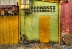 The door in the back alleys of southern Malaysia (Stuck in Customs) Tags: lighting door original light red wallpaper panorama green art texture colors beautiful lines yellow modern composition reflections painting fun photography amazing cool intense alley nikon perfect exposure paint shoot artist mood doors photographer shot angle bright image vibrant unique background details d2x perspective picture surreal atmosphere dirty textures edge malaysia processing stunning pro framing portfolio lovely capture emotions tones magical hdr melaka masterpiece treatment stuckincustoms treyratcliff
