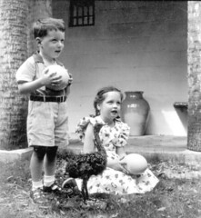 3 year old Ellwood Towle and 6 year old Rolfe Towle holding ostrich eggs near a young ostrich: Saint Augustine, Florida (State Library and Archives of Florida) Tags: children florida ostrich eggs ostriches ostricheggs saintaugustine evanstonillinois saintjohnscounty rolfetowle caspersostrichalligatorfarm ellwoodtowle statelibraryandarchivesofflorida