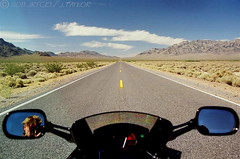 Escape Velocity (jrtce1) Tags: california sky art photography photo vanishingpoint highway desert symmetry motorcycle hondacbr hondacbr600 600cc motorcycleroad motorcycleadventure aplusphoto fbdg discoveryphotos goldenheartaward motorcycleontheroad jrtce1 highwayvanishingpoint motorcycleroaddeathvalley