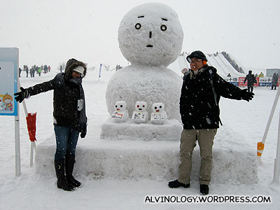 Rachel and I with a giant snowman plus a few snow-babies