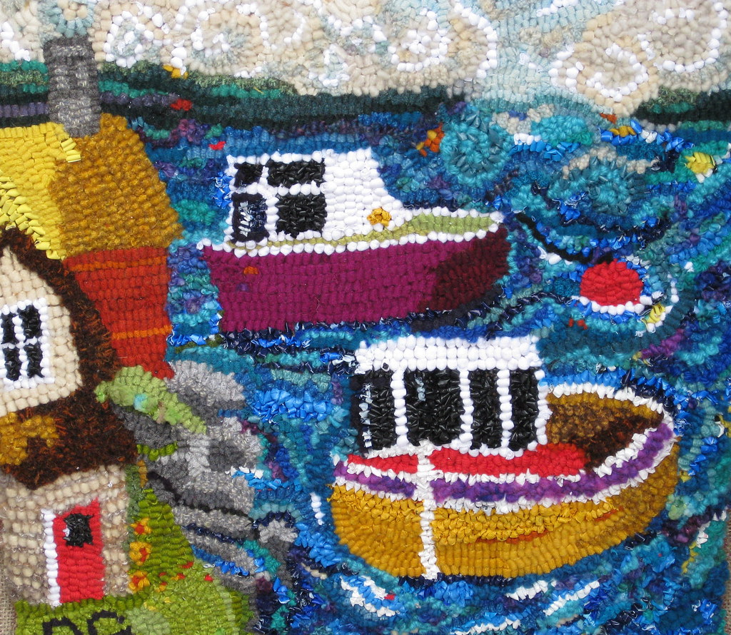 """Tugboat Alley"" rug hooking, designed and hooked by Deborah Groom"