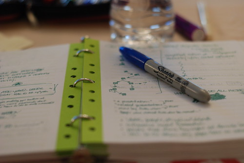 Notebook, sharpie and conference notes. Photo courtesy of Jonell Gades