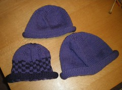 3 purple hats