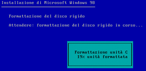 formattazione windows 98