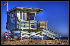Lifeguard Tower (Eleets121 | ryanmsteele.com) Tags: ocean california ca wood blue venice sunset red sky brown white black reflection green beach window beautiful beauty sign yellow clouds umbrella photoshop warning coast la losangeles amazing interesting sand nikon ramp colorful cross pacific bright framed no flag horizon surreal stroke lifeguard tent safety american frame stunning finished pro lifeguardtower cs3 photomatix d40 tonemapped pseudohdr singleimage flickrstars flickrestrellas eleets ryanmsteele
