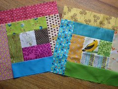 My first ever quilt blocks! (Lucy & Norman) Tags: bird quilt sewing logcabin fabric owl blocks