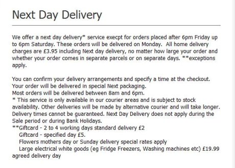 Next delivery options