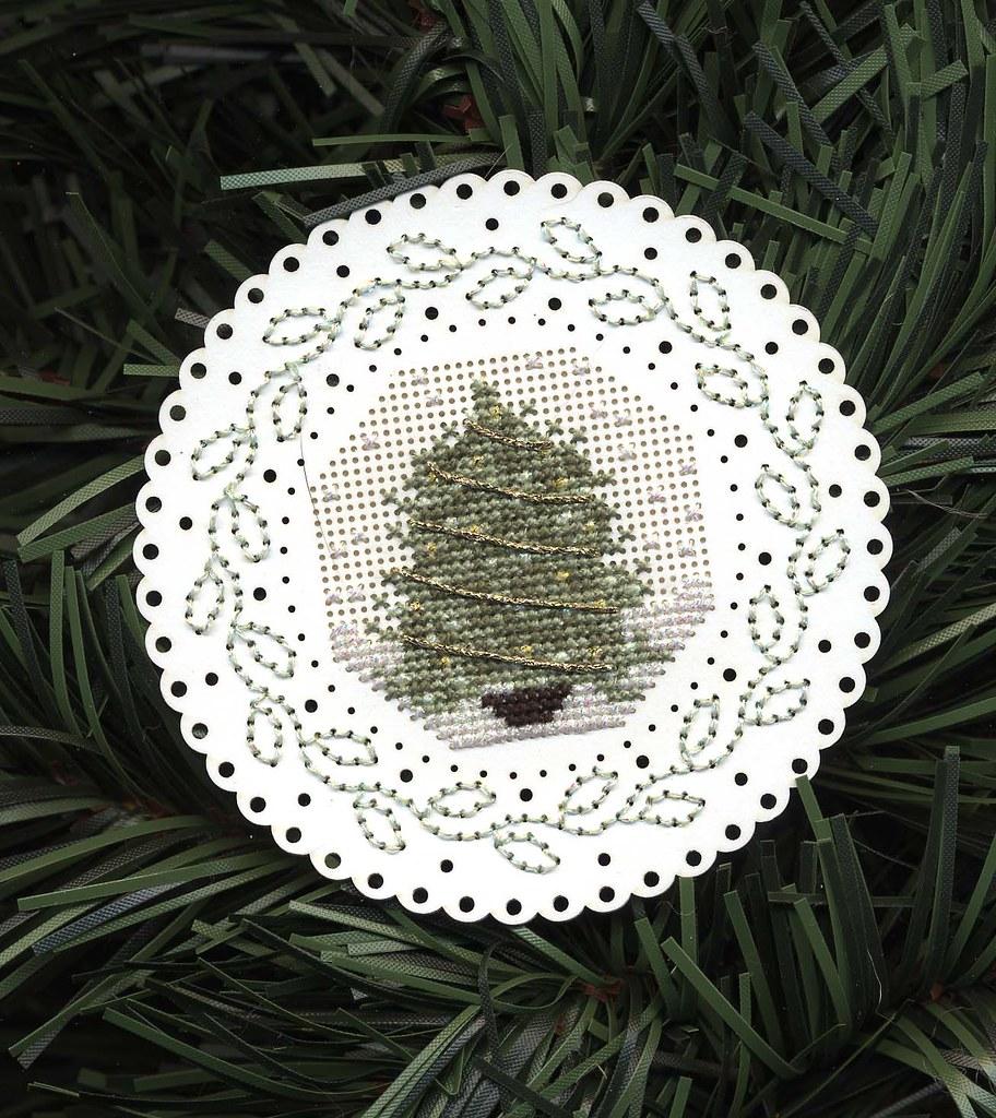 Cross stitched tree ornament