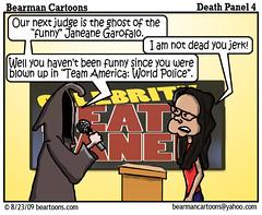 8 17 09 Bearman Cartoon DeathPanel4 copy (Bearman2007) Tags: celebrity cartoon bearman liberal politicalcartoon reform editorialcartoon janeanegarofalo deathpanel grimmreaper healtcare bearmancartoons obamacare
