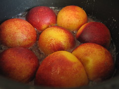 Ginger stewed peaches, upside down
