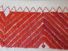 Ginevra's project: detail of reds (GinevraMakes) Tags: red embroidery messy 1sttime redwork careless tribalstyle ethnicstyle thequiltproject