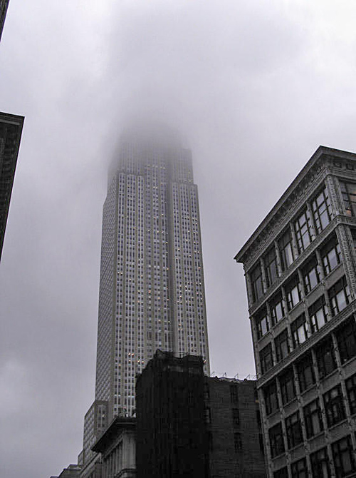 the Empire State Building scrapes the sky, NYC