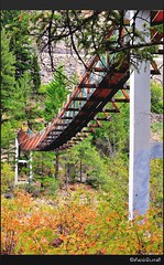 "Swinging Bridge ("""" Arun) Tags: trip travel bridge summer vacation usa holiday macro green nature water river fun nationalpark nikon highway montana troy falls idaho libby swinging arun kootenai swingingbridge kootenairiver kootenaifalls awesomeshot d90 nikond90 brillianteyejewel awesomescenery capturethefinest"
