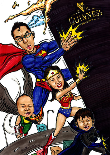 Superhero family caricatures