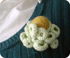 Cluster #3 (pilli pilli) Tags: green wool coral pin handmade unique cluster brooch crochet craft jewelry crocheted