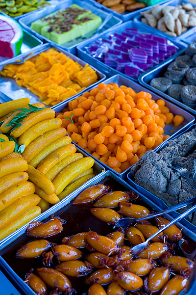 Sweets for sale at an evening market on the eve of Aidilfitri, Kota Bharu, Malaysia