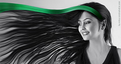 V (Mitra Mirshahidi-) Tags: bw white black green girl smile ir blackwhite movement v crazyhair greengreen manam