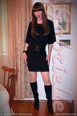 Black top, belt, skirt & boots (Gabrielle Hermosa) Tags: black sexy stockings legs boots cd longhair skirt crossdressing tgirl transgender heels brunette crossdresser blackclothes
