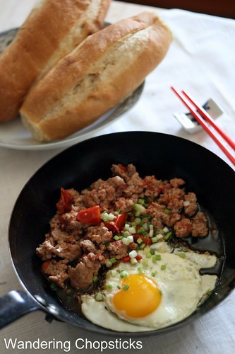 Thit Heo Bam Xao Ca Chua Banh Mi Op La (Vietnamese Ground Pork Tomato Stir-Fry with Sunny Side Up Eggs and Vietnamese French Bread) 6