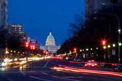 Power rush hour (Rozanne Hakala) Tags: street city urban usa cars tourism architecture night outdoors lights us dc washington districtofcolumbia traffic streetlamps streetlights pennsylvania landmark tourist uscapitol pennsylvaniaavenue capitol congress dome chamber government bluehour avenue federal stoplights capitolhill senate lightstreams neoclassic legislativebranch trafficelights seatofpower