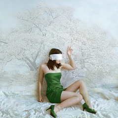 Green Dress (horriblecherry) Tags: tree green girl cherry dress reaching surreal depression blindfold blossum