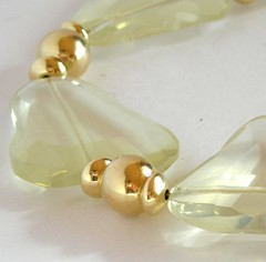 Large slabs of clear citrine in a necklace with 12ct goldfill
