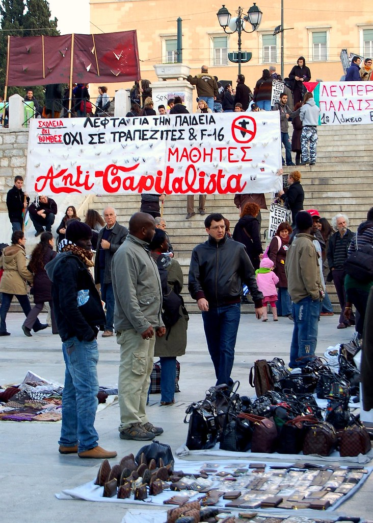 Capitalists and Anti-Capitalists in Athen's Syntagma Square