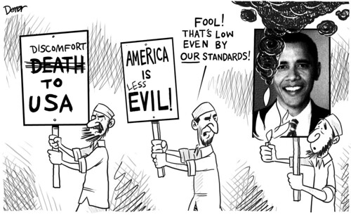 obama protest iran political cartoon
