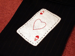 Ace of Hearts (WildCat Designs) Tags: handmade embroidery felt deck pouch comicbook stitched crafting pinstripe playingcard aceofhearts