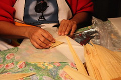 Wrapping tamale (eggsnbakie) Tags: christmas food mexicanfood tamales homemade