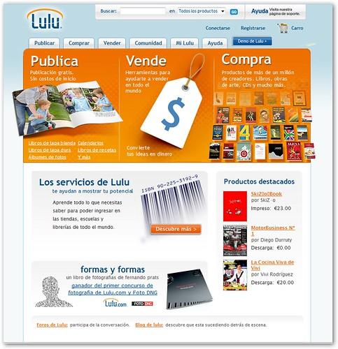 Página principal de Lulu.com con Banner de FORMAS y FORMAS