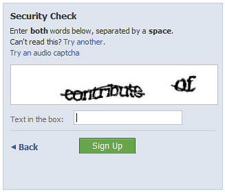 A CAPTCHA on the poular social networking site -- Facebook