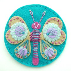DSCN0847 (APPLIQUE-designedbyjane) Tags: butterfly embroidery brooch felt freeform