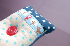 Little Red Riding Hood Pincushion (Tiny House) Tags: blue red japanese linen lavender littleredridinghood ribbon pincushion polkadot