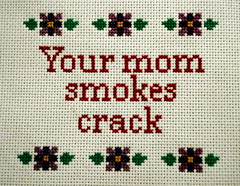 Your mom goes to college (Stitch Out Loud) Tags: flower crossstitch craft crack stitchoutloud